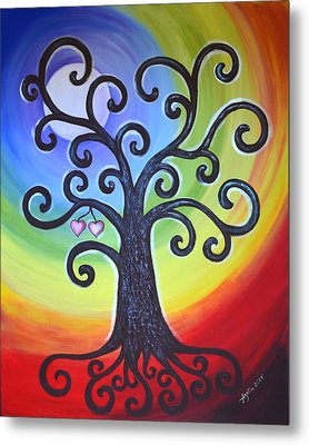 Metal Print featuring the painting Tree Of Life Love And Togetherness by Agata Lindquist