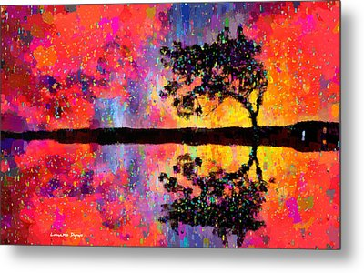 Tree Reflection - Da Metal Print