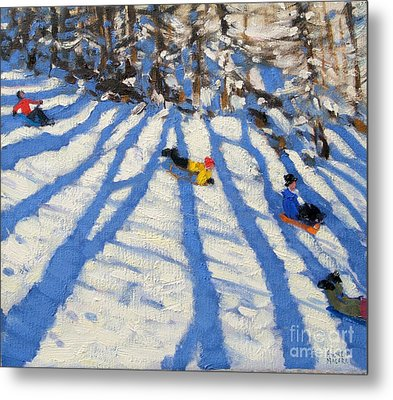 Tree Shadows Morzine Metal Print
