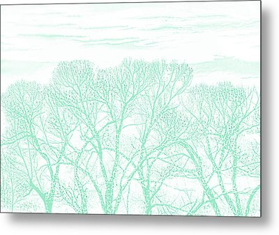 Metal Print featuring the photograph Tree Silhouette Teal by Jennie Marie Schell