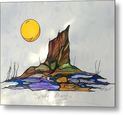 Tree Stump At Spooky Marsh Metal Print
