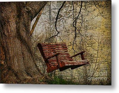 Tree Swing By The Lake Metal Print by Deborah Benoit