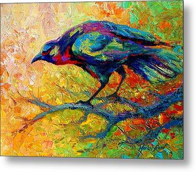 Tree Talk - Crow Metal Print by Marion Rose