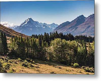 Metal Print featuring the photograph Tree View Of Mt Cook Aoraki by Gary Eason