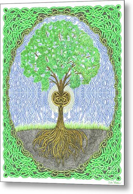 Tree With Heart And Sun Metal Print by Lise Winne