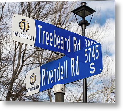 Treebeard And Rivendell Street Signs Metal Print by Gary Whitton