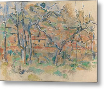 Trees And Houses Metal Print by Paul Cezanne