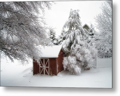 Trees Fresh Snow Fall In The Backyard Metal Print by Thomas Woolworth