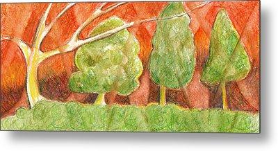 Trees In Light Metal Print by Linda Kay Thomas