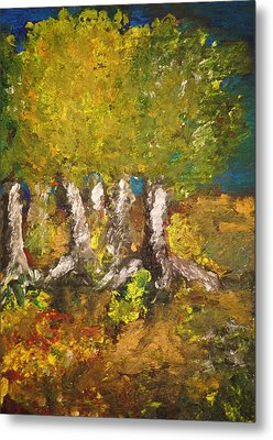 Metal Print featuring the painting Trees In The Evening by Evelina Popilian