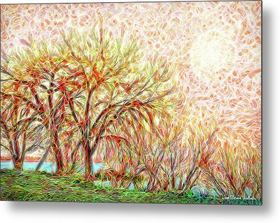 Metal Print featuring the digital art Trees In Winter Under Full Moon At Dusk by Joel Bruce Wallach