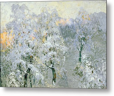 Trees In Wintry Silver Metal Print by Konstantin Ivanovich Gorbatov