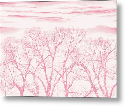 Metal Print featuring the photograph Trees Silhouette Pink by Jennie Marie Schell