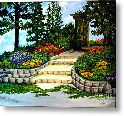 Metal Print featuring the painting Trellace Gardens by Elizabeth Robinette Tyndall
