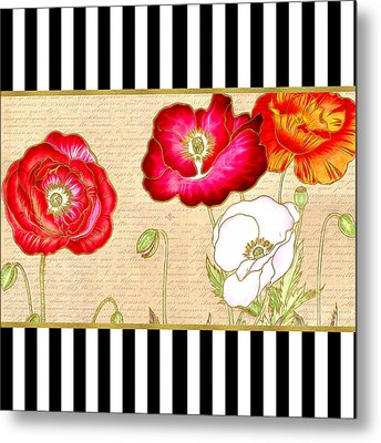 Trendy Red Poppy Floral Black And White Stripes Metal Print
