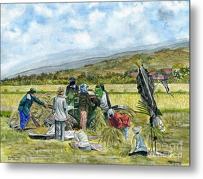 Metal Print featuring the painting Treshing Rice by Melly Terpening