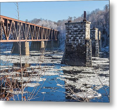Trestle In Winter Metal Print by Laurie Breton