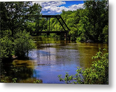 Metal Print featuring the photograph Trestle Over River by Mark Myhaver