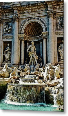 Metal Print featuring the photograph Trevi Fountain Vertical  by Harry Spitz