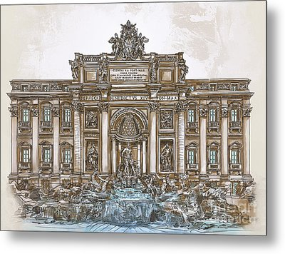 Metal Print featuring the painting  Trevi Fountain,rome  by Andrzej Szczerski