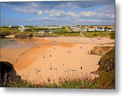 Treyarnon Bay Beach Cornwall England Uk Cornish North  Metal Print by Michael Charles