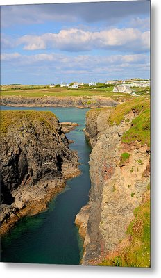 Treyarnon Bay Coast Cornwall England Uk Cornish North Colourful  Metal Print by Michael Charles