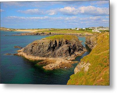 Treyarnon Bay Coast Cornwall England Uk Cornish North Colourful Scene Metal Print by Michael Charles