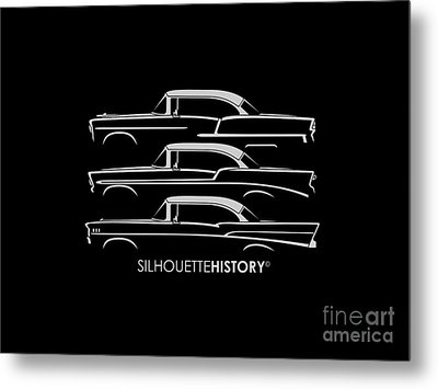 Tri-five Bel Air Silhouettehistory Metal Print