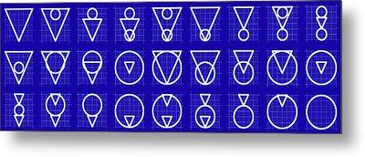 Triarcle -alphabet- Grid Blueprint Metal Print by Coded Images