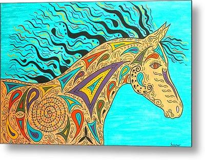 Tribal Carnival Spirit Horse Metal Print by Susie WEBER