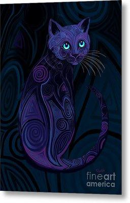Tribal Cat Blue Eyes Metal Print by Nick Gustafson