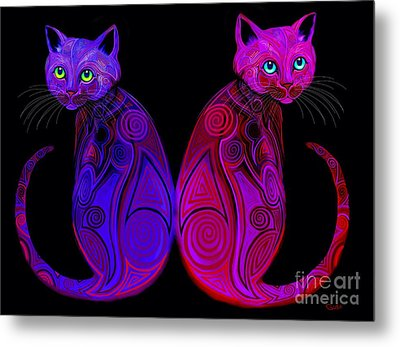 Metal Print featuring the digital art Tribal Cats by Nick Gustafson