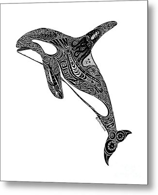 Tribal Orca Metal Print by Carol Lynne