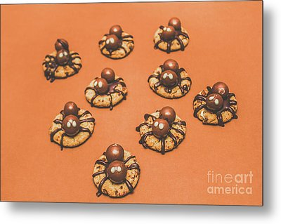 Trick Or Treat Halloween Spider Biscuits Metal Print