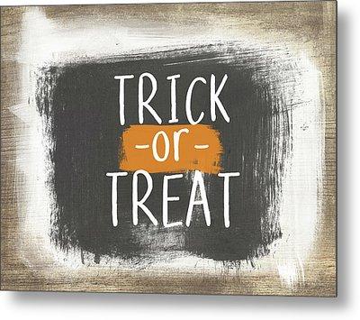 Trick Or Treat Sign- Art By Linda Woods Metal Print