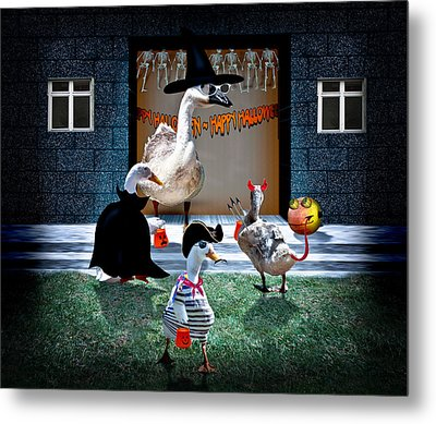 Trick Or Treat Time For Little Ducks Metal Print