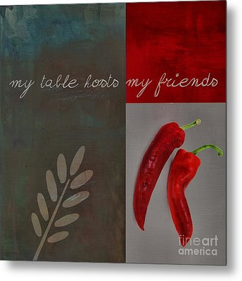 Triloli Kitchen Decor - Red 155b Metal Print by Variance Collections