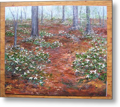 Trilliums After The Rain Metal Print