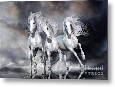 Metal Print featuring the digital art Trinity Galloping Horses Blue by Shanina Conway