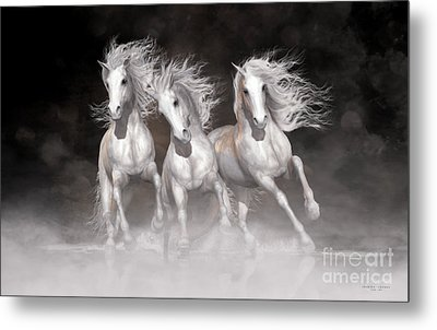 Metal Print featuring the digital art Trinity Horses Neutrals by Shanina Conway