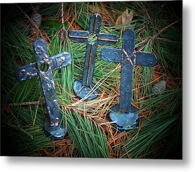 Trio In Pine Metal Print by Deborah Montana