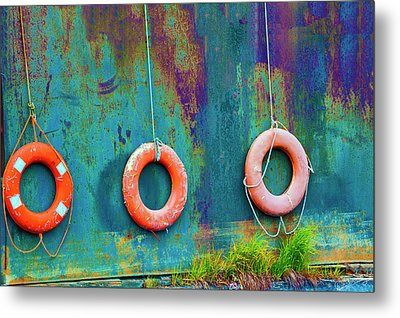 Trio Of Life Buoys Metal Print