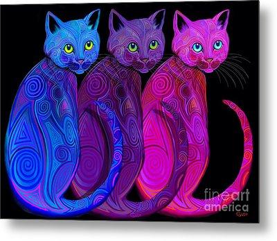 Trio Of Tribal Cats Metal Print by Nick Gustafson