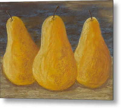 Trio Of Yellow Pears Metal Print by Cheryl Albert