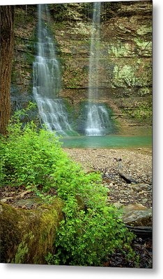 Tripple Falls In Springtime Metal Print by Iris Greenwell