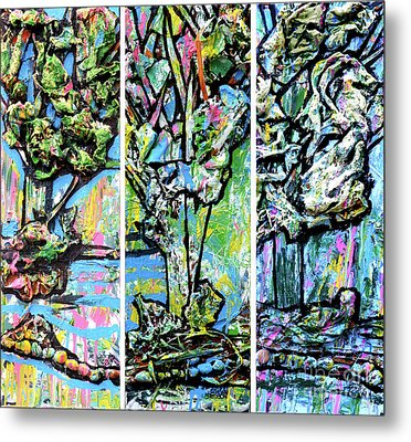Triptych Of Three Trees By A Brook Metal Print
