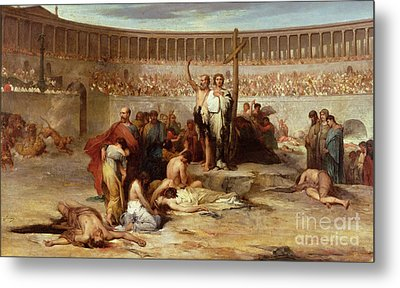 Triumph Of Faith    Christian Martyrs In The Time Of Nero Metal Print by Eugene Romain Thirion