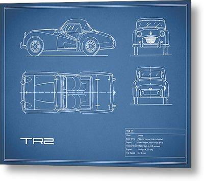 Triumph Tr2 Blueprint Metal Print by Mark Rogan