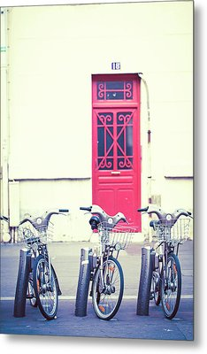 Metal Print featuring the photograph Trois - Three Bicycles In Paris by Melanie Alexandra Price