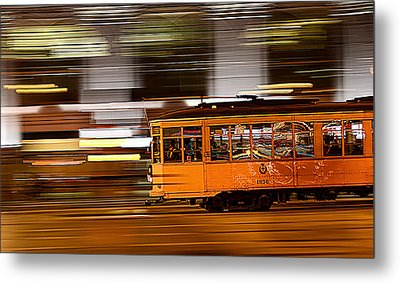 Metal Print featuring the photograph Trolley 1856 On The Move by Steve Siri